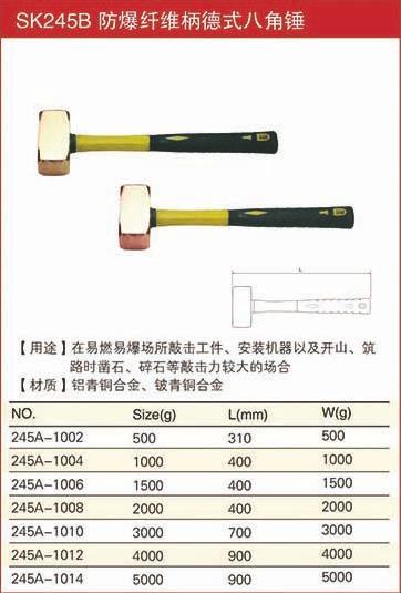 防爆纤维柄德式八角锤规格